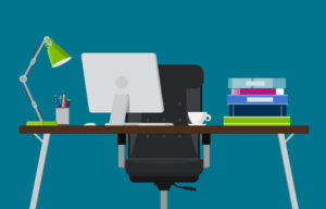 Illustration of a desk with a computer with a stack of books.