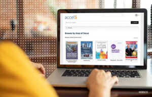 An individual browsing book summaries on Accel5.
