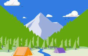 Illustration of a campsite by a river in the woods.