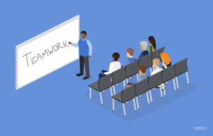 Illustration of a group of people learning about Teamwork in a classroom environment.