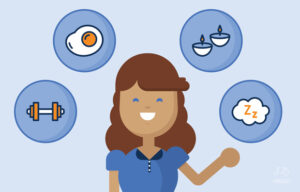 Illustration of a woman with different items around her representing wellness.