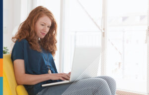 Woman working from home on her laptop.