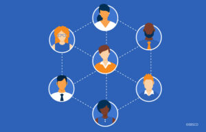 Illustration showing seven corporate professionals and how they're linked within a network.