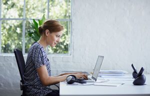 Woman working at a desk