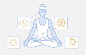 Illustration of a woman meditating, with things that could help manage stress around her.