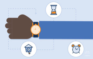 Illustration of an arm wearing a watch and different symbols representing time around it.