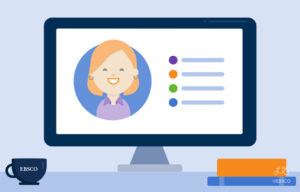 Illustration of a woman sharing tips on a computer.