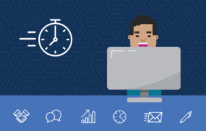 Illustration of a man at a computer, there's a stopwatch beside him hinting that he's learning everything in a short amount of time.